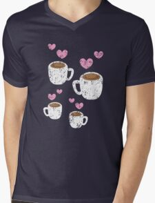 Four coffee cups with love hearts (distressed version) Mens V-Neck T-Shirt