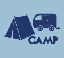 CAMP with tent and a campervan Kids Tee