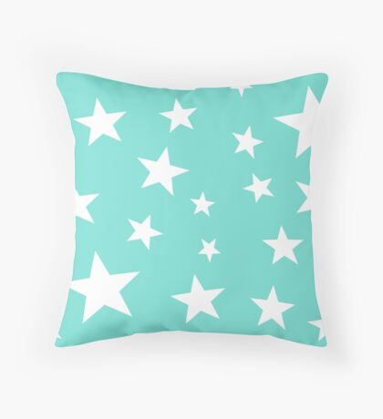 Star Spangled Turquoise Throw Pillow