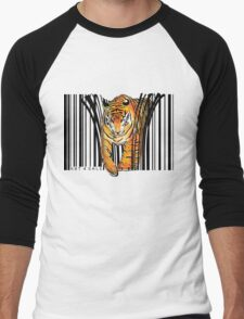 ENDANGERED TIGER BARCODE illustration print Men's Baseball ¾ T-Shirt