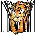 ENDANGERED TIGER BARCODE illustration print by SFDesignstudio