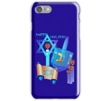 Blue Glass Dreidel-Happy Hanukkah iPhone Case/Skin