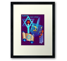 Blue Glass Dreidel-Happy Hanukkah Framed Print