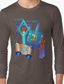 Blue Glass Dreidel-Happy Hanukkah Long Sleeve T-Shirt