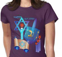 Blue Glass Dreidel-Happy Hanukkah Womens Fitted T-Shirt