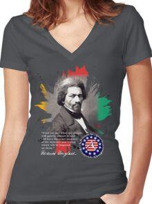 frederick douglass Women's Fitted V-Neck T-Shirt