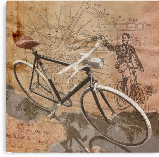 VINTAGE RETRO CYCLIST digital print by SFDesignstudio