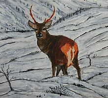 Stag in Winter by George Hunter