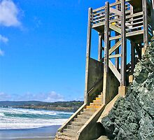Staircase at Black Sand Beach by Michael  Corwin