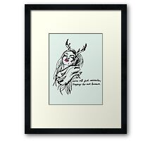 we're all just animals, trying to act human (black on powder) blue) Framed Print