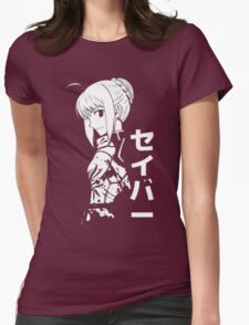 Saber Fate Stay Night Anime Cosplay Japan T Shirt Womens Fitted T-Shirt