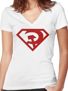 Superman- Red Son Women's Fitted V-Neck T-Shirt