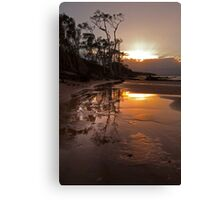 Red Beach turns Gold Canvas Print