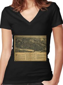 Panoramic Maps City of Derby Connecticut Women's Fitted V-Neck T-Shirt