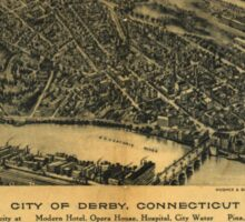 Panoramic Maps City of Derby Connecticut Sticker