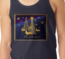 Gold Christmas Trees and Reindeer Tank Top