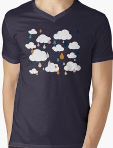 Dark Grey Rainy Day Mens V-Neck T-Shirt