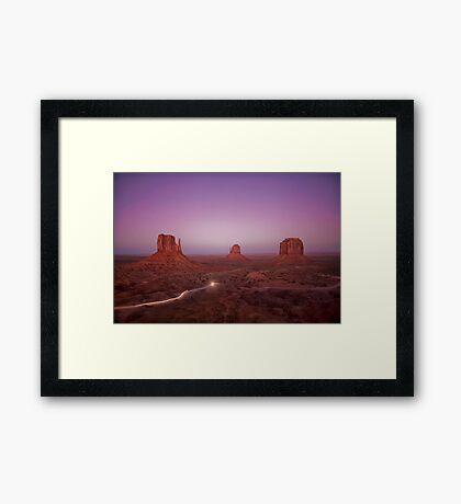 Monument Valley National Park - West Mitten, East Mitten and Merrick Butte Framed Print
