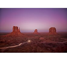 Monument Valley National Park - West Mitten, East Mitten and Merrick Butte Photographic Print