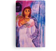 Mother and child, watercolor Canvas Print