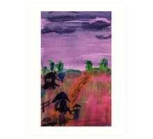Walking home in the rain, watercolor Art Print