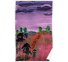 Walking home in the rain, watercolor Poster