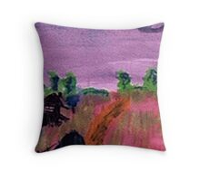 Walking home in the rain, watercolor Throw Pillow