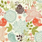Doodle birds in flowers by Nataliia-Ku