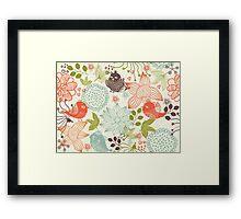 Doodle birds in flowers Framed Print