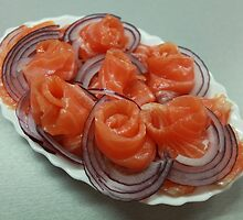 Pieces of salmon on a plate    by mrivserg