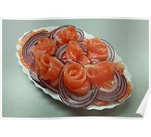 Pieces of salmon on a plate    Poster