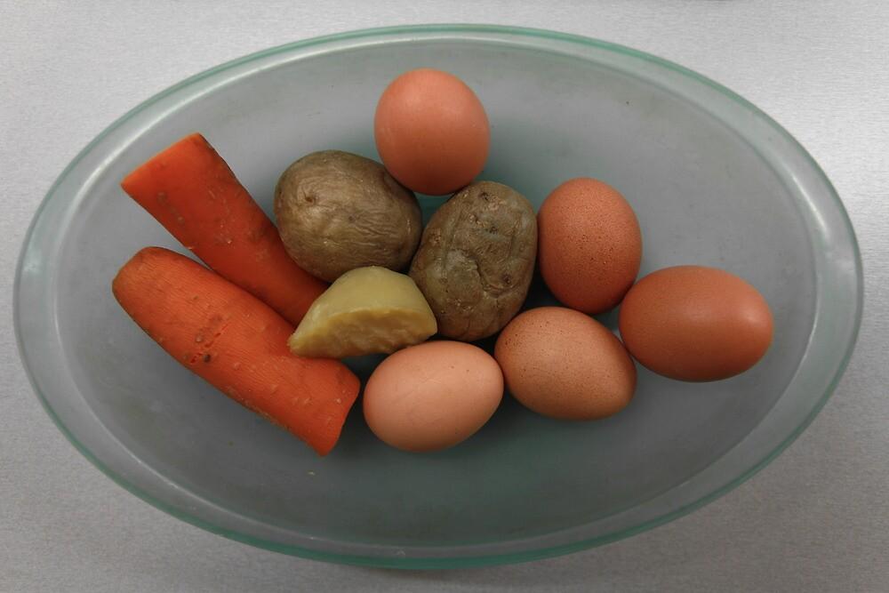 Boiled   eggs  and  vegetables   by mrivserg