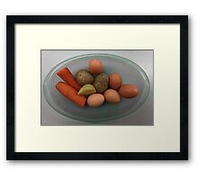 Boiled   eggs  and  vegetables   Framed Print