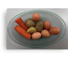 Boiled   eggs  and  vegetables   Canvas Print