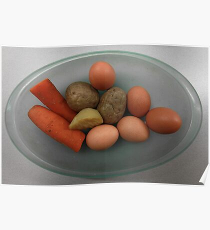 Boiled   eggs  and  vegetables   Poster