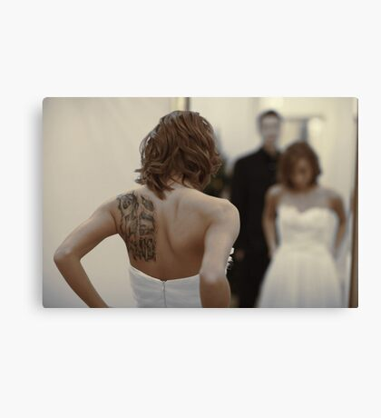 bride in the mirror Canvas Print
