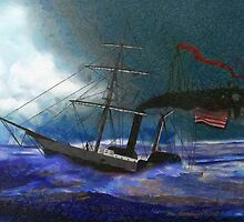 A digital painting of USS Harriet Lane  (1861-1863) by Dennis Melling