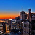 HDR Detroit Skyline Sunrise by Tina Logan