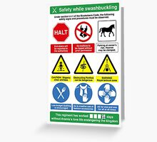 Musketeer Safety Signs (print/card) Greeting Card