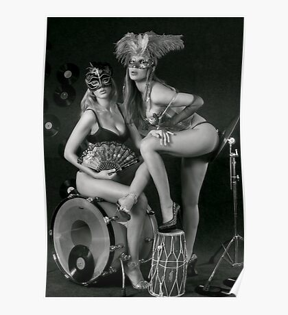 Two sexy ladies wearing masks in music club stage... Poster