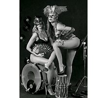 Two sexy ladies wearing masks in music club stage... Photographic Print