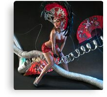 Las Vegas Dancer posing at futuristic background on club stage Canvas Print