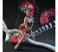 Las Vegas Dancer posing at futuristic background on club stage Photographic Print