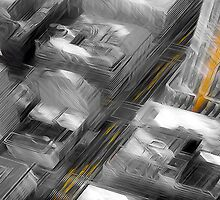 Cityscape Black White & Yellow Oil Painting by Fred Seghetti
