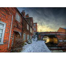 Snowy Canal Footpath Photographic Print