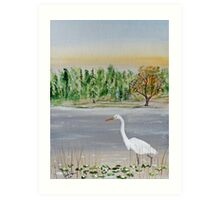 Egret Breakfast Prowl Art Print