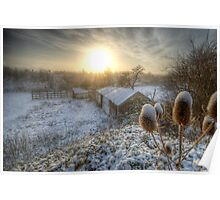 Country Snow And Sunrise Poster