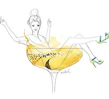 Girl in a champagne glass by mekel