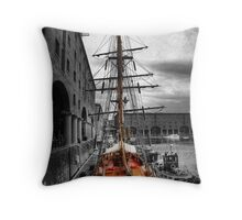 Tall Ship At Liverpool Throw Pillow