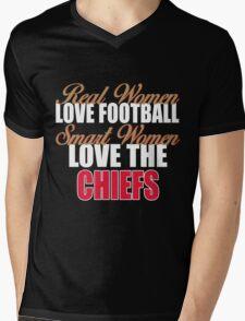 Real Women Love Football Smart Women Love The Chiefs Mens V-Neck T-Shirt